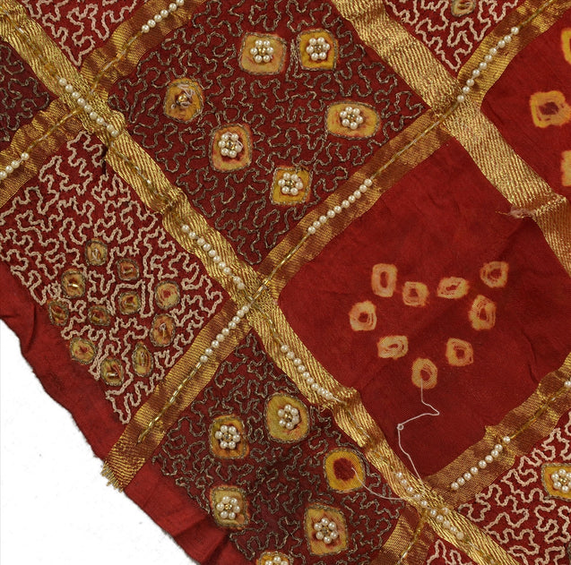 SANSKRITI VINTAGE INDIAN SAREE HAND BEADED BANDHANI FABRIC ART SILK SARI MAROON