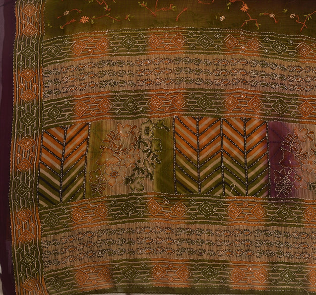 Vintage Indian Saree Georgette Hand Embroidered Multi Craft Fabric Kantha Sari