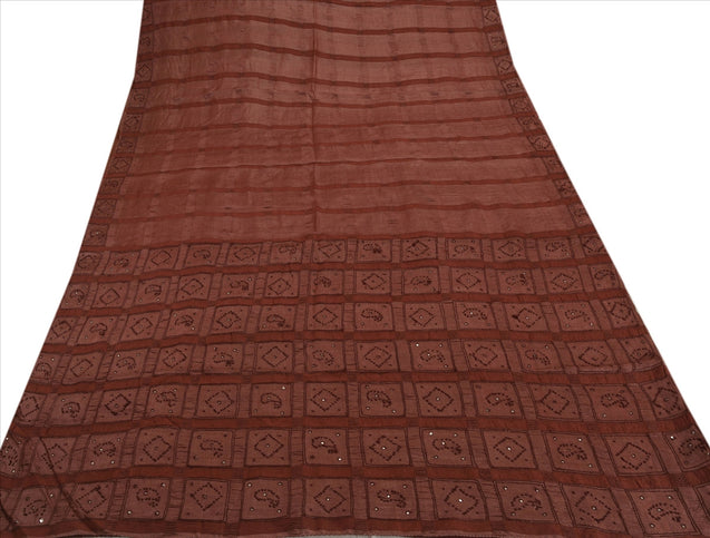 Antique Vintage Indian 100% Pure Silk Saree Hand Beaded Craft Fabric Sari