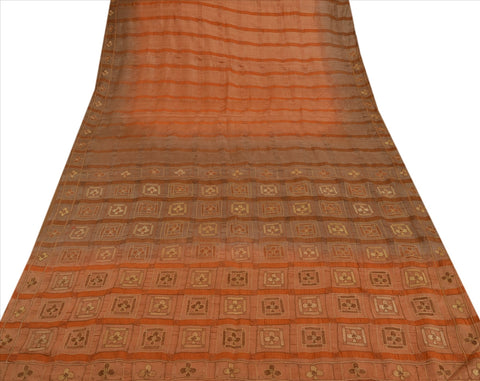 Vintage Indian 100% Pure Silk Saree Hand Embroidered Peach Fabric Cultural Sari