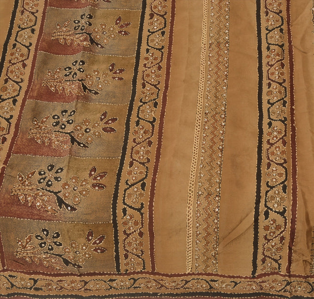 Vintage Indian 100% Pure Crepe Silk Saree Hand Embroidered Fabric Kantha Sari