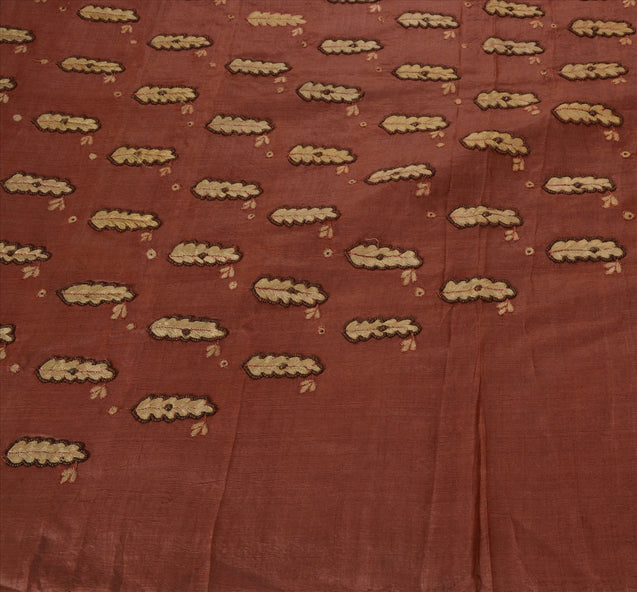 Vintage Indian Saree 100% Pure Silk Hand Beaded Craft Fabric Cultural Sari