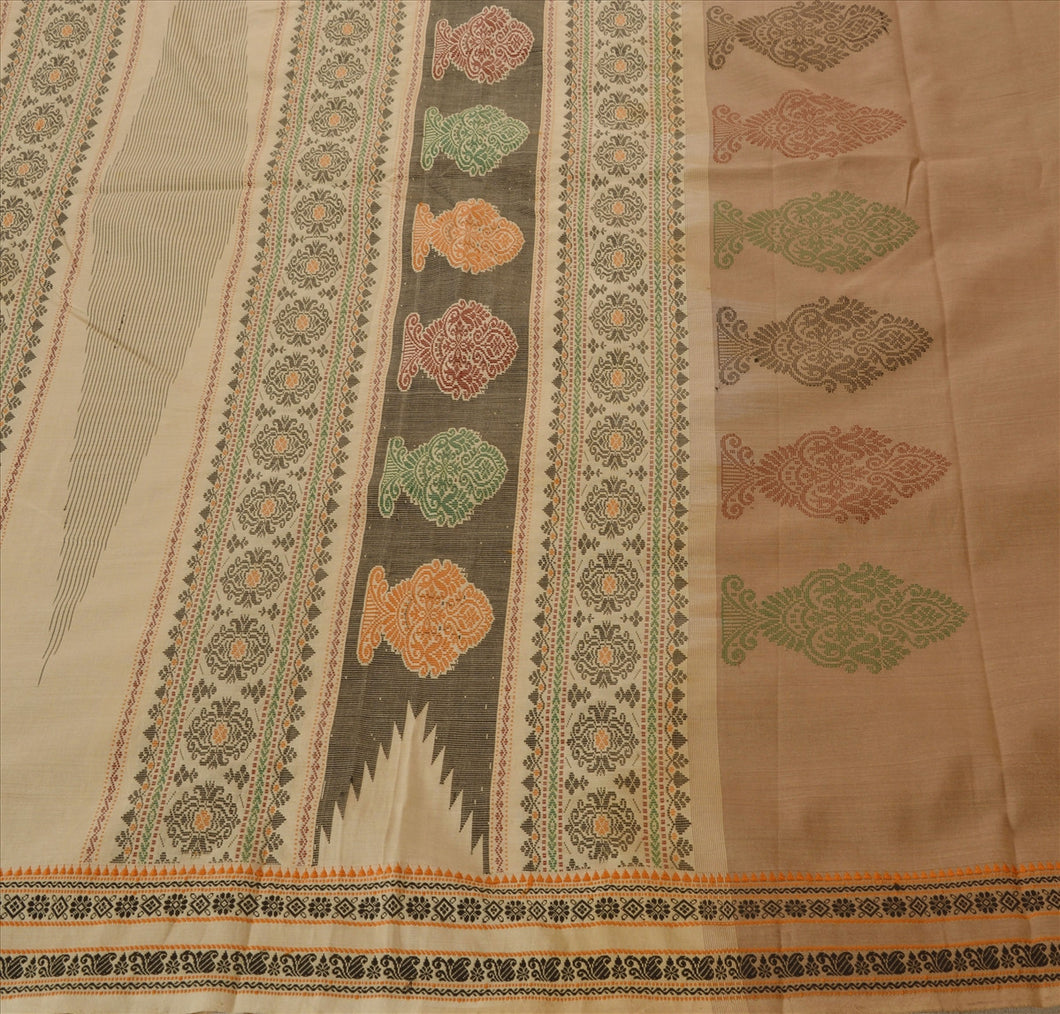 Sanskriti Vintage Indian Saree Art Silk Woven Brown Craft Fabric Cultural Sari