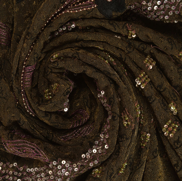 Sanskriti Vintage Indian Saree Art Silk Hand Beaded Woven Fabric Ethnic Sari