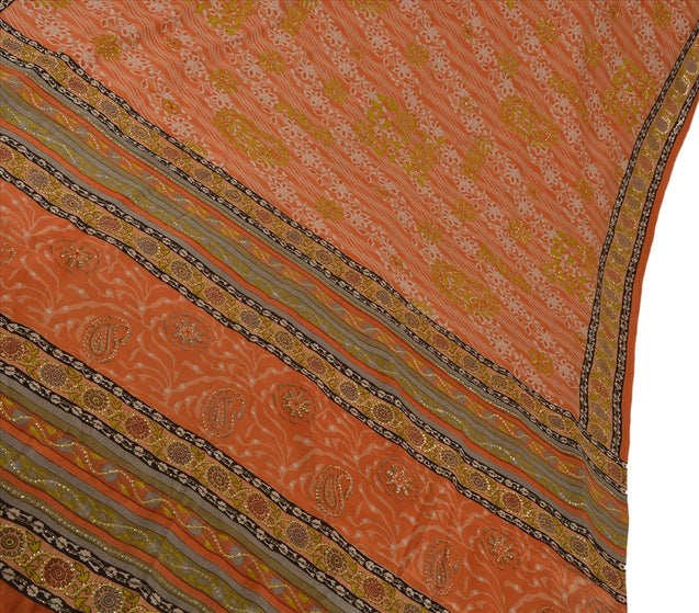 Vintage Indian Saree 100% Pure Crepe Silk Hand Beaded Craft Fabric Cultural Sari