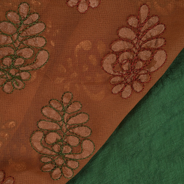 Antique Vintage Indian Georgette Saree Hand Embroidery Painted Green Fabric Sari
