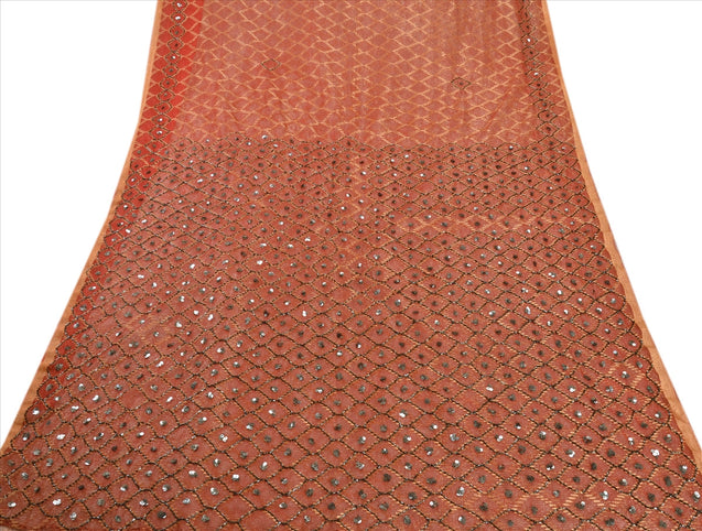 SANSKRITI VINTAGE INDIAN SAREE NET MESH RED SARI FABRIC HAND BEADED WOVEN SEQUIN