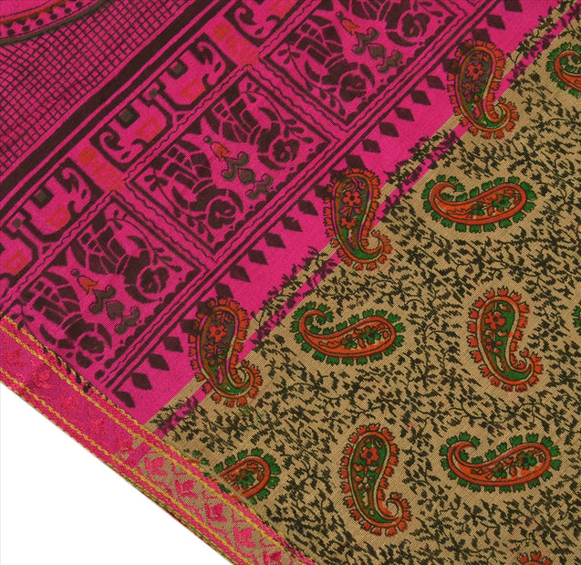 SANSKRITI VINTAGE INDIAN SAREE ART SILK BROWN PINK SARI FABRIC PAINTED ELEPHANT