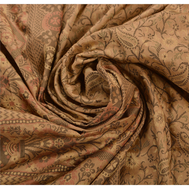 Sanskriti Vintage Indian Saree 100% Pure Silk Brown Woven Cultural Fabric Sari