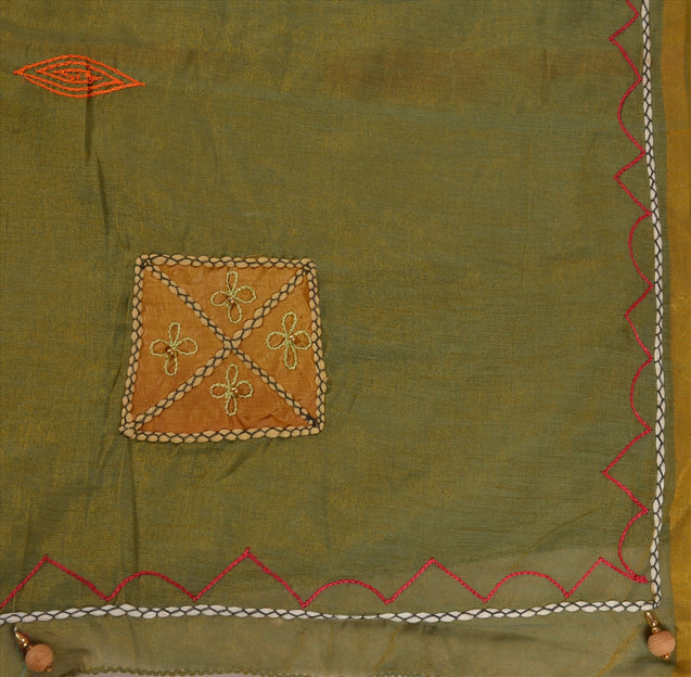 SANSKRITI VINTAGE INDIAN SAREE ART SILK GREEN SARI FABRIC HAND BEADED PATCH