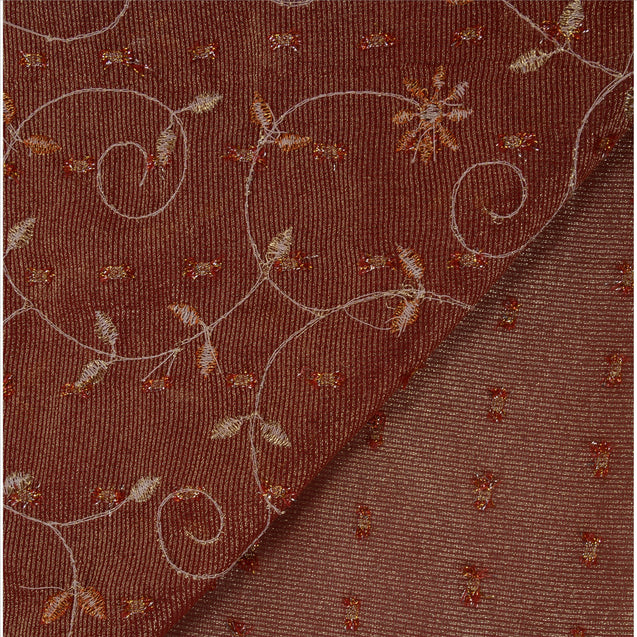 Vintage Indian Saree 100% Pure Georgette Silk Embroidered Craft Fabric Sari