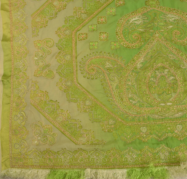 Sanskriti Vintage Indian Saree Art Silk Hand Beaded Green Craft Fabric Ethnic Sari