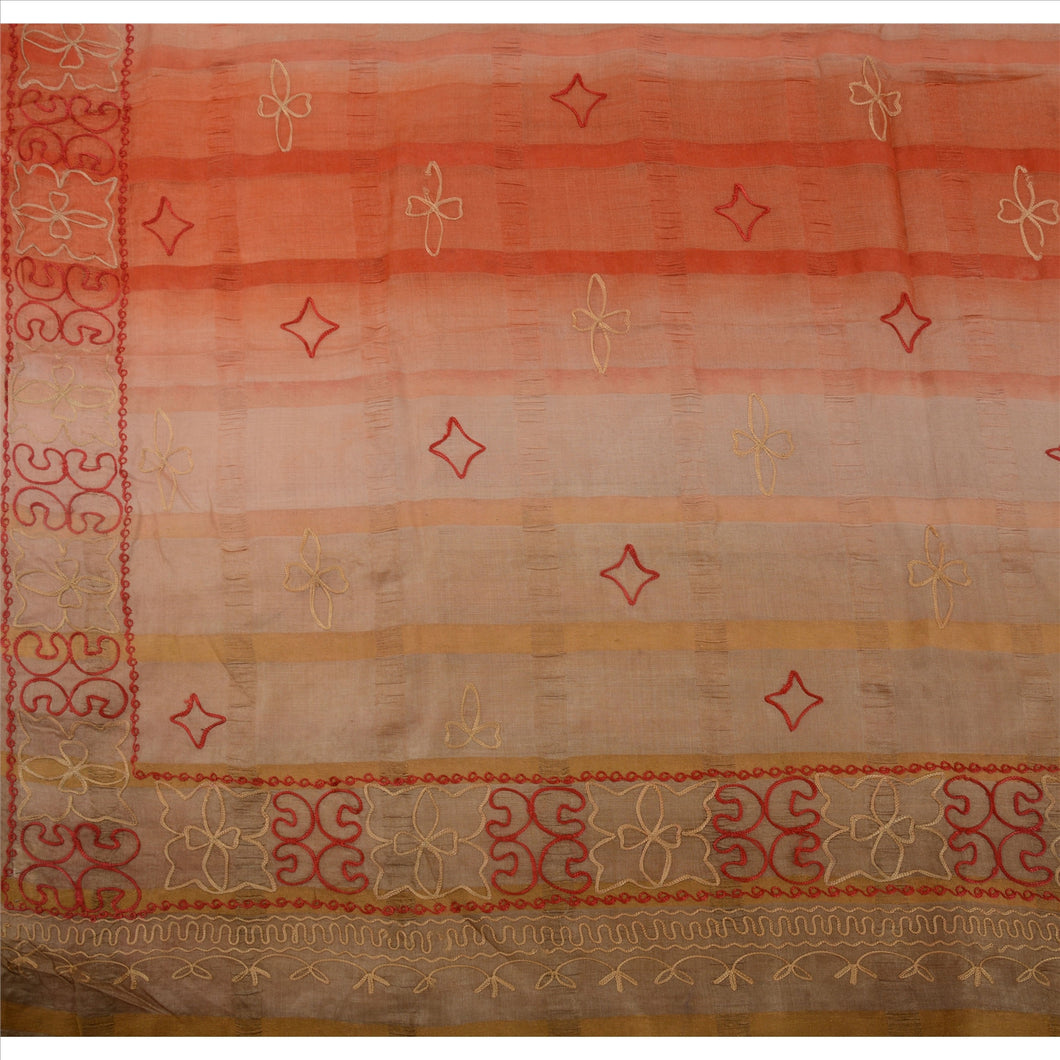 Vintage Indian Ethnic Saree 100% Pure Silk Hand Embroidered Craft Fabric Sari