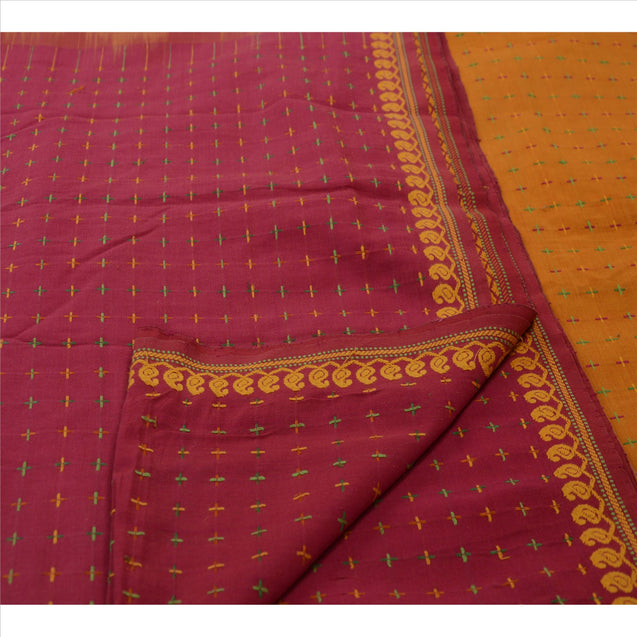 Sanskriti Vintage Pink Indian Saree Cotton Blend Hand Embroidered Craft Fabric Sari