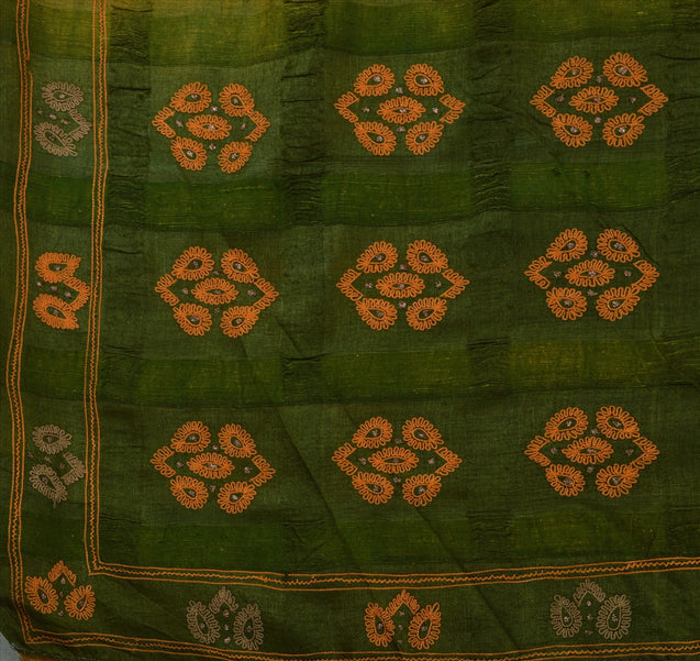 Sanskriti Vintage Antique Indian 100% Pure Silk Saree Hand Embroidered Green Fabric Sari