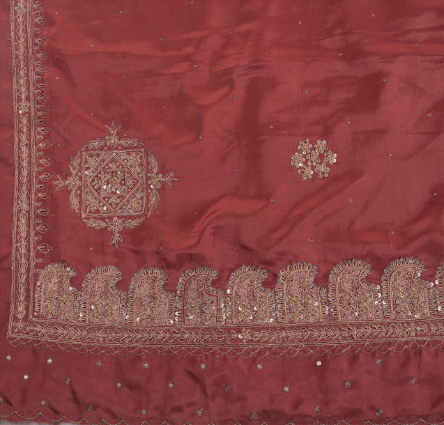 Sanskriti Vintage Indian Art Silk Saree Hand Beaded Pink Craft Fabric Ethnic Sari