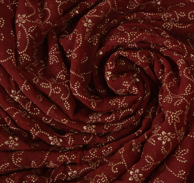 Sanskrirti Vintage Indian Saree Cotton Beaded Maroon Craft Fabric Cultural Sari