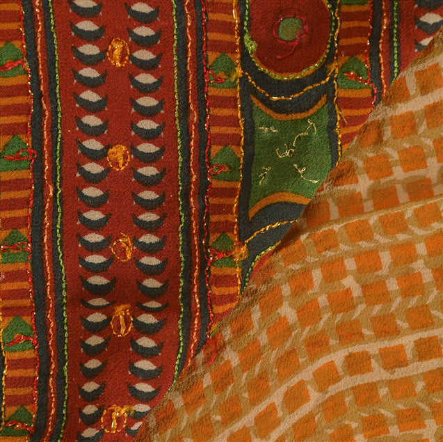 Vintage Indian Saree 100% Pure Georgette Silk Hand Beaded Craft Fabric Sari