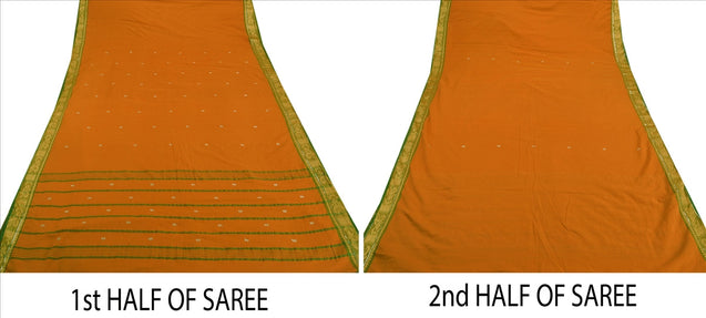Sanskriti Vintage Indian Saree Cotton Blend Woven Saffron Craft Fabric Sari