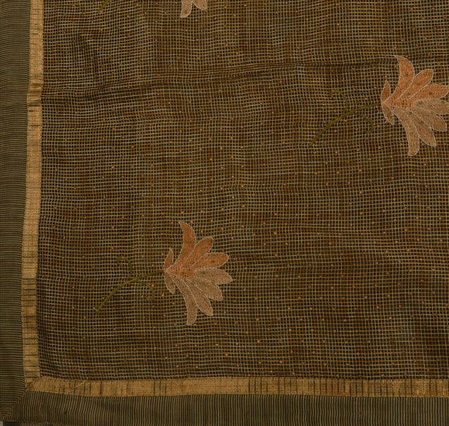 Sanskriti Vintage Indian Saree Art Silk Embroidered Woven Craft Fabric Sari