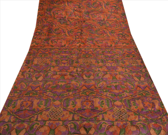 Antique Vintage Indian Saree 100% Pure Silk Hand Beaded Craft Fabric Sari