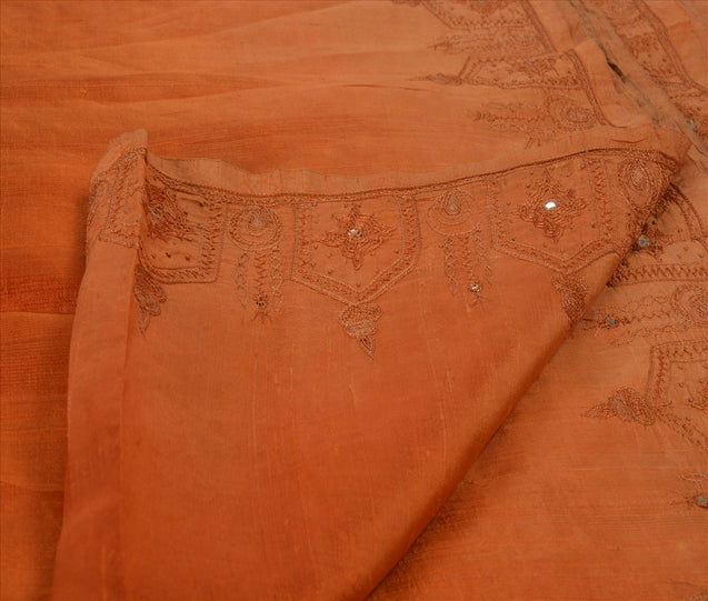 Antique Vintage Indian Saree 100% Pure Silk Hand Embroidered Craft Fabric Sari
