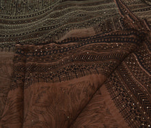 Load image into Gallery viewer, Sanskriti Vintage Antique Black Indian Saree Pure Georgette Silk Hand Embroidered Fabric Sari