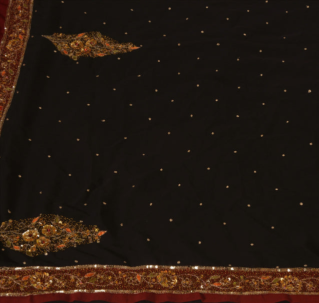 Antique Vintage Indian Saree Georgette Hand Embroidery Black Craft Fabric Sari