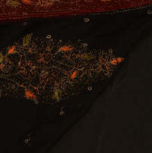 Load image into Gallery viewer, Sanskriti Vintage Antique Indian Saree Georgette Hand Embroidery Black Craft Fabric Sari