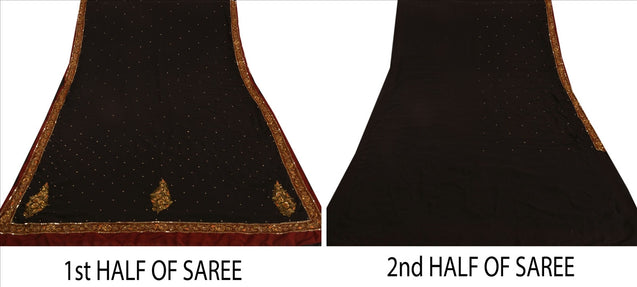 Sanskriti Vintage Antique Indian Saree Georgette Hand Embroidery Black Craft Fabric Sari