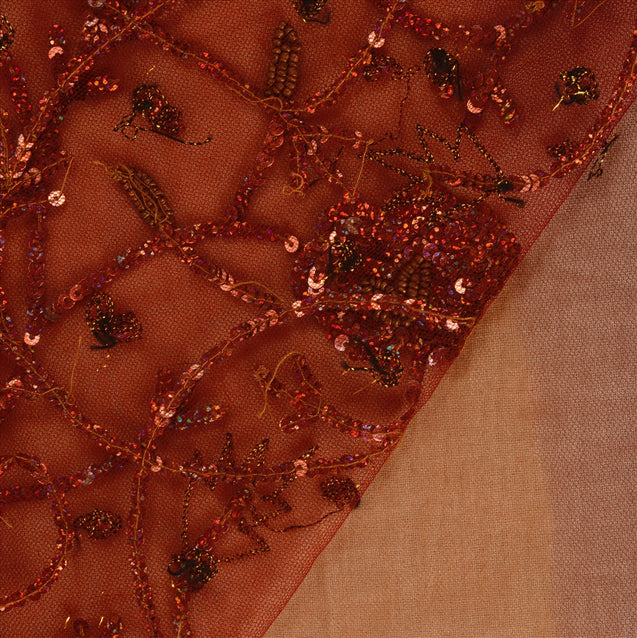 Sanskriti Vintage Antique Indian Saree Net Mesh Hand Embroidery Orange Craft Fabric Sari