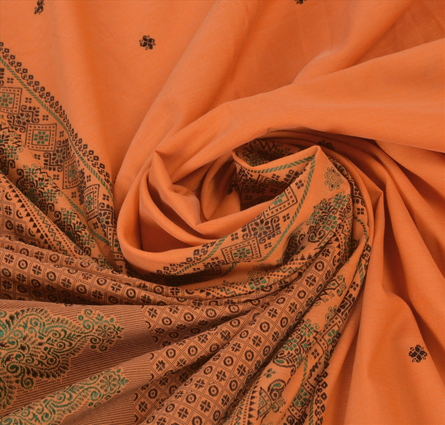 Sanskriti Vintage Indian Saree Art Silk Woven Saffron Craft Fabric Ethnic Sari