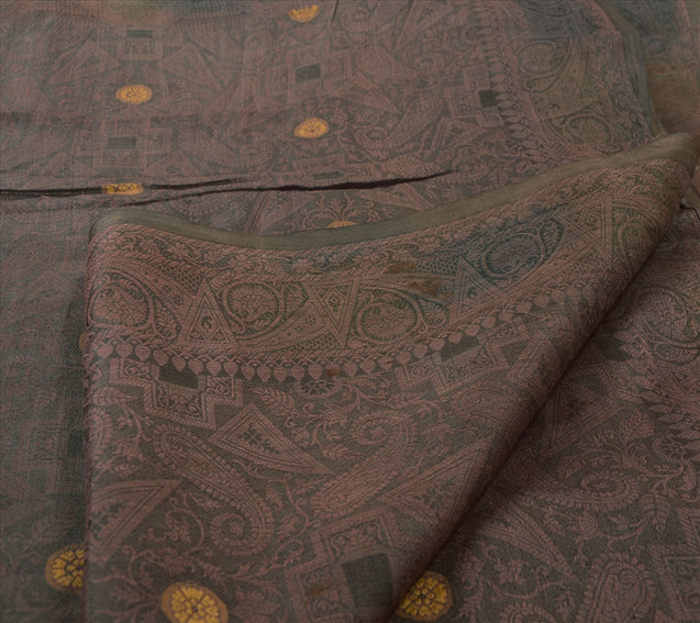 Antique Vintage Indian Saree 100% Pure Silk Woven Green Craft Fabric Sari
