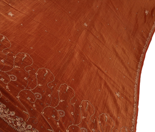 Sanskriti Vintage Antique Indian Saree Georgette Hand Embroidery Woven Craft Fabric Sari