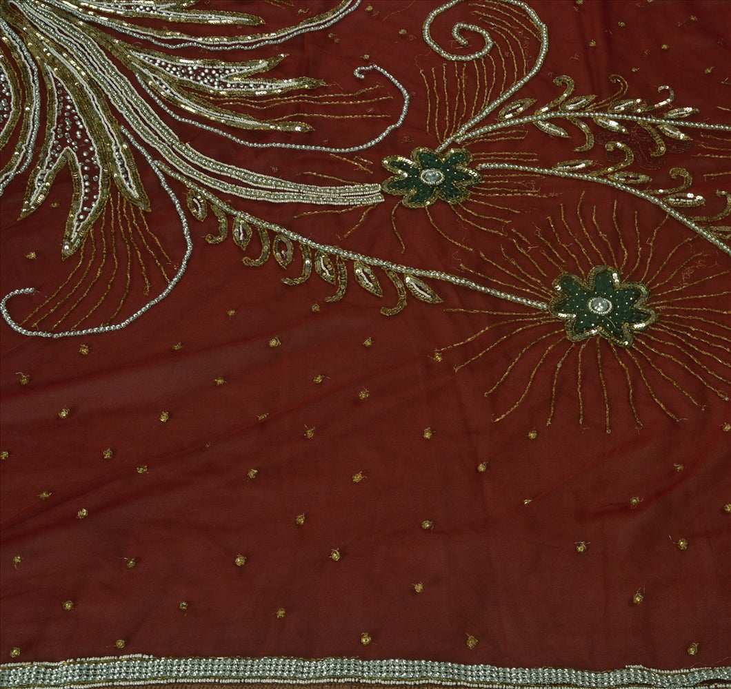 Antique Vintage Indian Saree Net Mesh Hand Embroidery Maroon Craft Fabric Sari