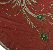 Load image into Gallery viewer, Antique Vintage Indian Saree Net Mesh Hand Embroidery Maroon Craft Fabric Sari
