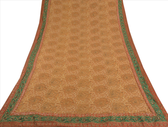 Antique Vintage Indian Saree Georgette Lehenga Sari Hand Embroidery Pre Stitched