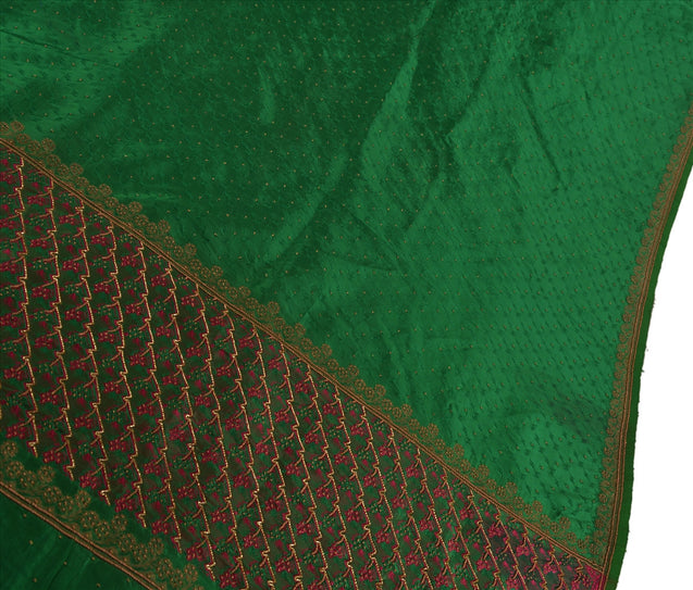 Antique Vintage Indian Saree Art Silk Hand Embroidery Woven Craft Fabric Sari