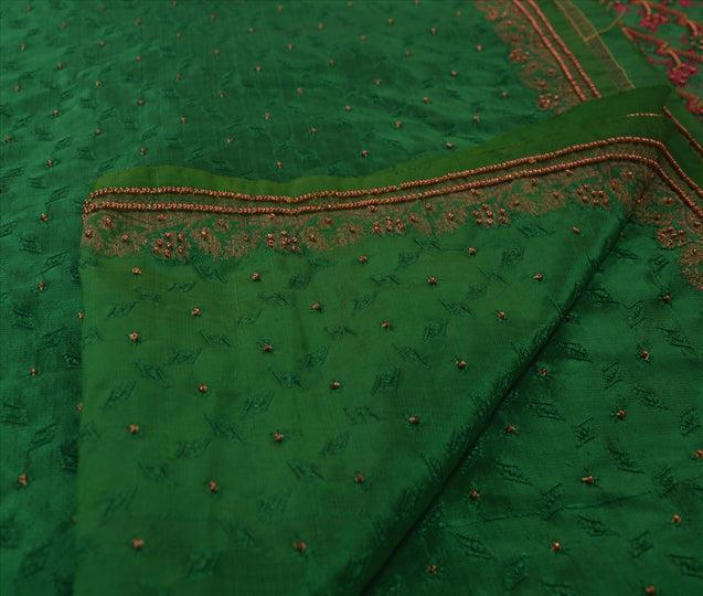 Sanskriti Vintage Indian Saree Art Silk Hand Embroidery Woven Craft Fabric Sari