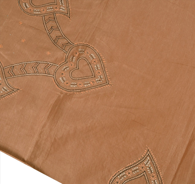 Sanskriti Vintage Indian Saree Art Silk Painted Peach Craft Fabric Sari