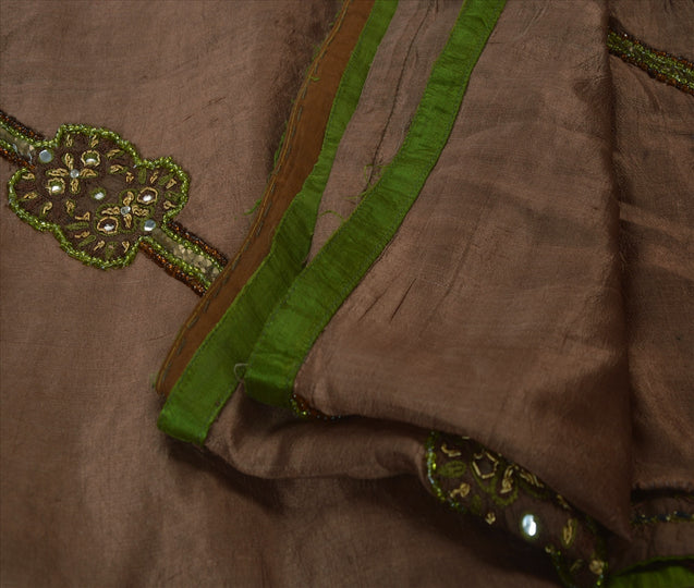 Antique Vintage Indian Saree 100% Pure Silk Hand Embroidery Craft Fabric Sari