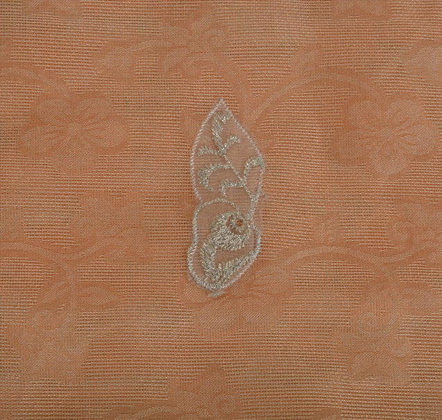 Antique Vintage Indian Saree Tissue Embroidery Woven Peach Craft Fabric Sari