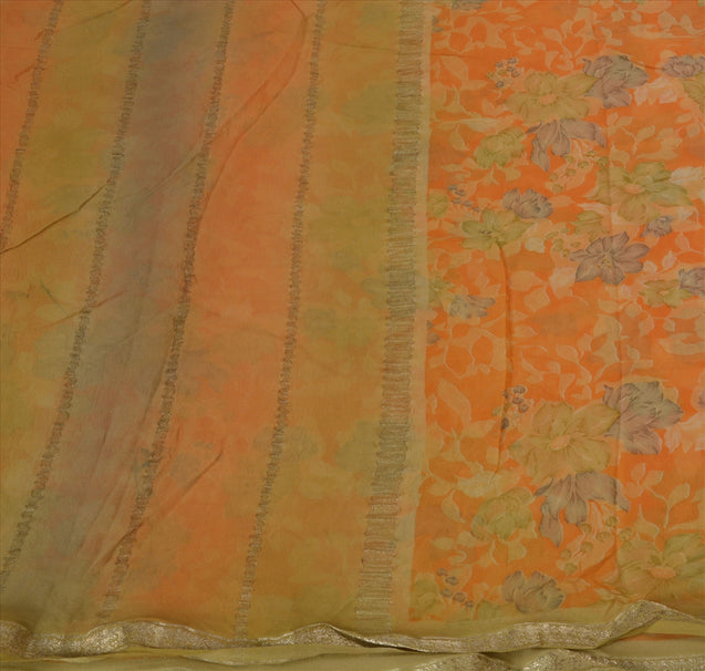 Vintage Indian Saree 100% Pure Georgette Silk Woven Green Craft Fabric Sari