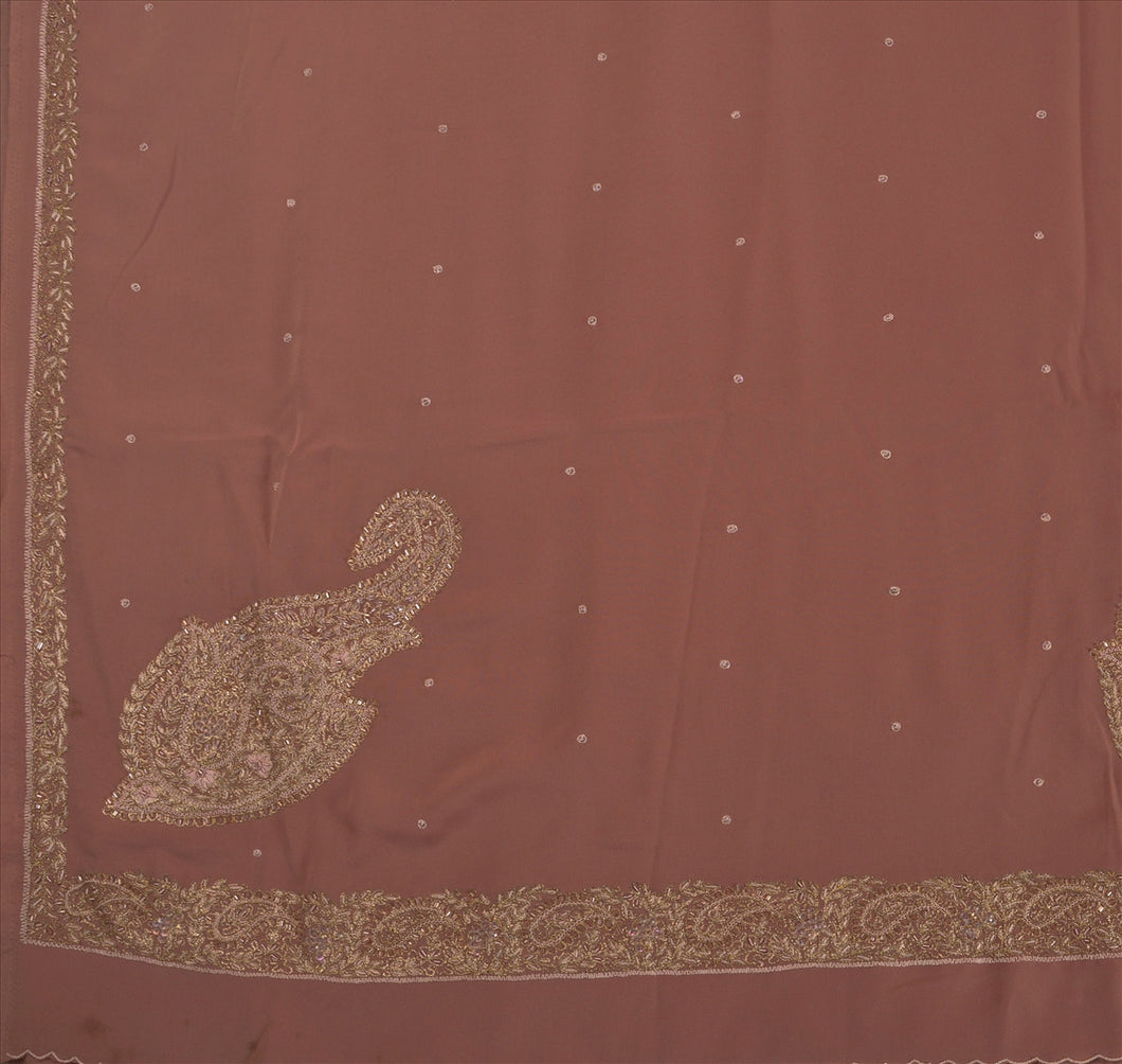 Sanskriti Vintage Indian Saree Art Silk Hand Beaded Craft Fabric Ethnic Sari