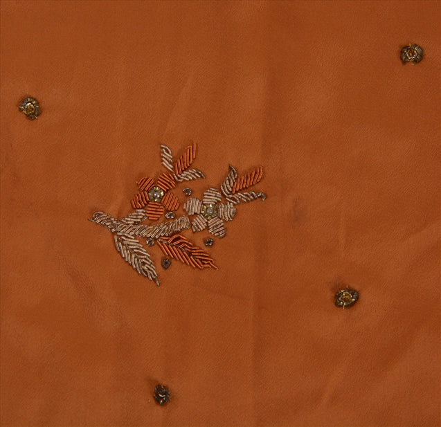 Sanskriti Vintage Indian Saree Art Silk Hand Beaded Peach Craft Fabric Sari