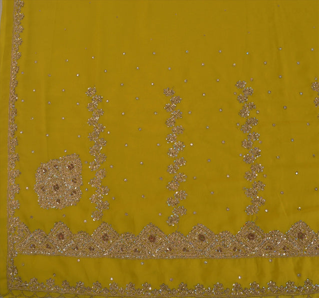 Sanskriti Vintage Antique Indian Saree Georgette Hand Embroidery Green Craft Fabric Sari