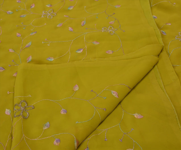 Sanskriti Vintage Antique Indian Saree Georgette Embroidery Green Craft Fabric Sari