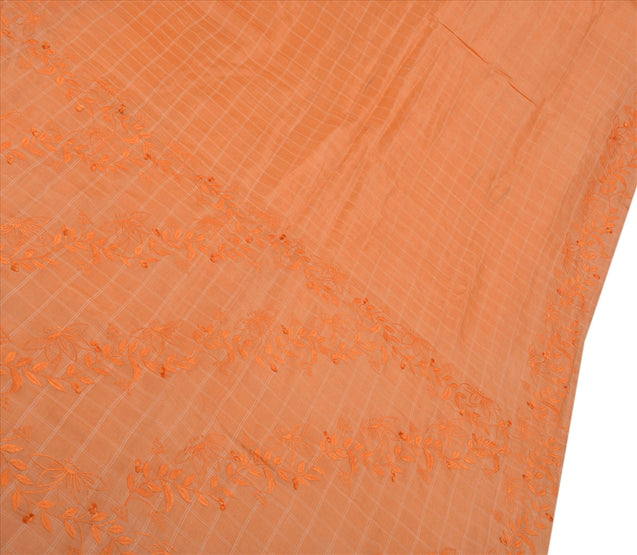 Vintage Indian Saree 100% Pure Silk Embroidered Peach Craft Fabric Sari