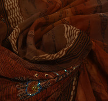 Load image into Gallery viewer, Vintage Indian Saree 100% Pure Crepe Silk Hand Beaded Craft Fabric Cultural Sari