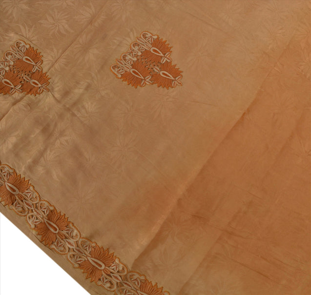 Antique Vintage Indian Saree 100% Pure Crepe Silk Embroidery Craft Fabric Sari